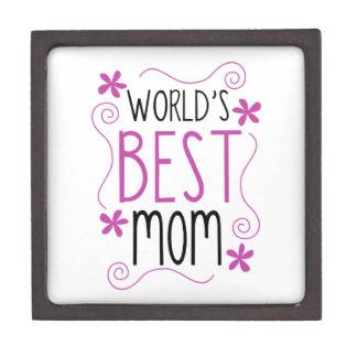 Cute Flowery World's Best Mom Premium Jewelry Boxes