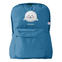 Cute fluffy baby seal american apparel™ backpack
