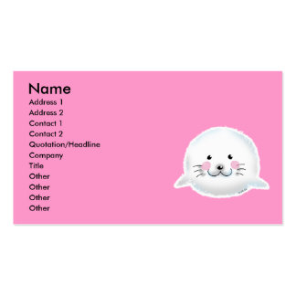 Cute fluffy baby seal Double-Sided standard business cards (Pack of 100)