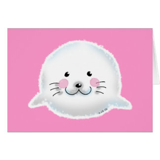 Cute fluffy baby seal greeting card