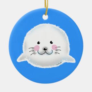 Cute fluffy baby seal ceramic ornament