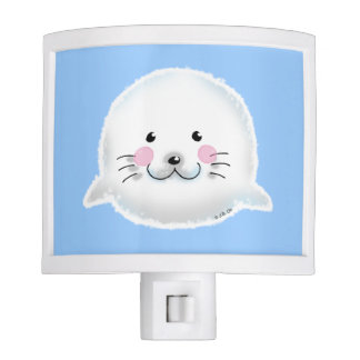 Cute fluffy baby seal nite light