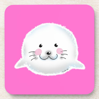 Cute fluffy baby seal coasters