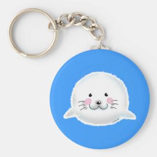 Cute fluffy baby seal key chain