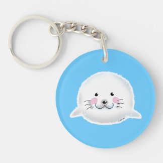 Cute fluffy baby seal keychain