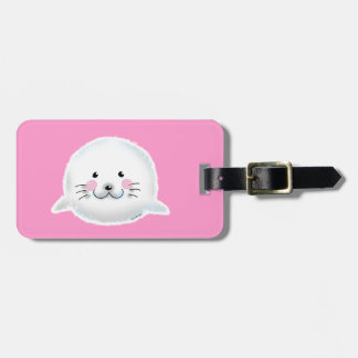 Cute fluffy baby seal luggage tags