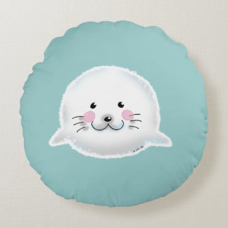Cute fluffy baby seal round pillow