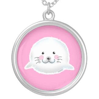 Cute fluffy baby seal custom necklace