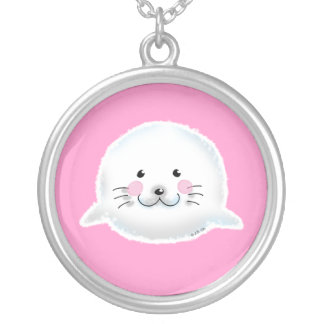 Cute fluffy baby seal custom necklace