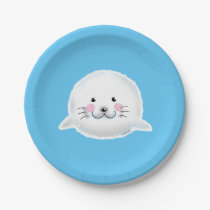 Cute fluffy baby seal paper plate