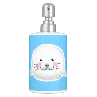 Cute fluffy baby seal toothbrush holder