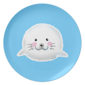 Cute fluffy baby seal party plates