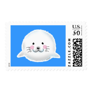Cute fluffy baby seal postage