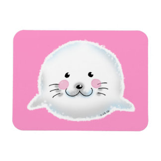 Cute fluffy baby seal vinyl magnets