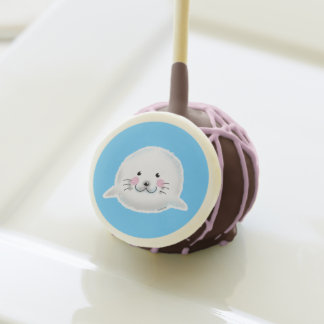 Cute fluffy baby seal cake pops