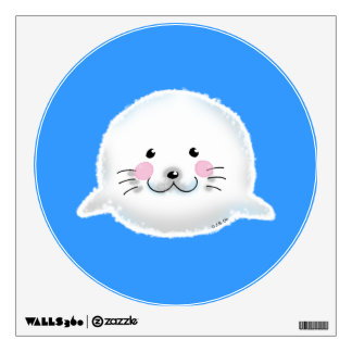 Cute fluffy baby seal wall decals
