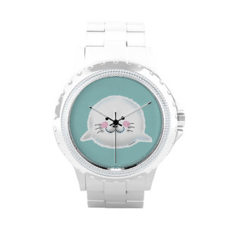 Cute fluffy baby seal wrist watches