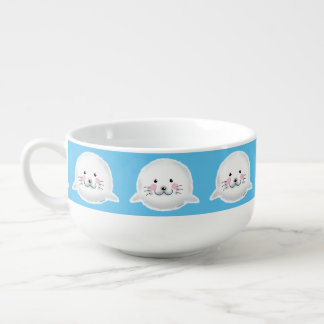 Cute fluffy baby seal soup bowl with handle