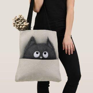 Cute Fluffy Black cat peaking out Crossbody Bag