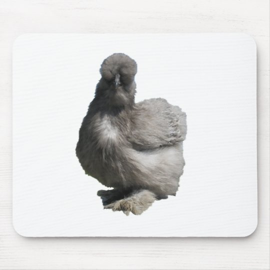 Cute Fluffy Blue Silkie Chicken Mouse Pad
