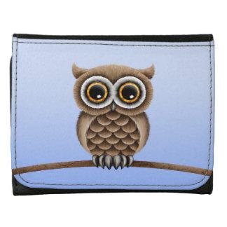 Cute Fluffy Brown Owl on a Branch, Light Blue Wallets