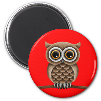 Cute Fluffy Brown Owl on a Branch, Red Magnet