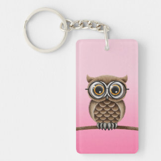 Cute Fluffy Brown Owl with Reading Glasses, Pink Double-Sided Rectangular Acrylic Keychain