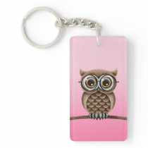 Cute Fluffy Brown Owl with Reading Glasses, Pink Keychain