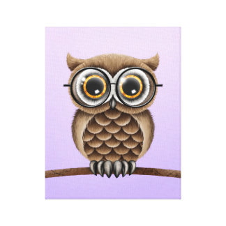 Cute Fluffy Brown Owl with Reading Glasses, Purple Canvas Print