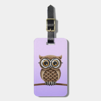 Cute Fluffy Brown Owl with Reading Glasses, Purple Tag For Bags