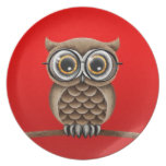 Cute Fluffy Brown Owl with Reading Glasses, Red Melamine Plate