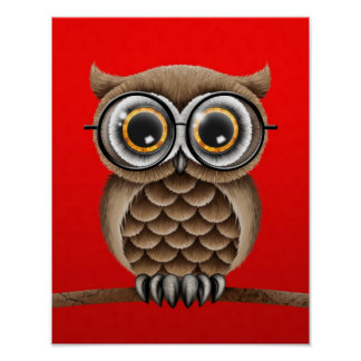 Cute Fluffy Brown Owl with Reading Glasses, Red Poster