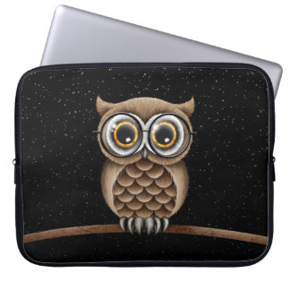 Cute Fluffy Brown Owl with Reading Glasses & Stars Laptop Computer Sleeves