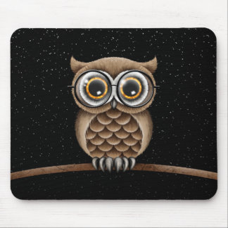 Cute Fluffy Brown Owl with Reading Glasses & Stars Mouse Pad