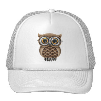 Cute Fluffy Brown Owl with Reading Glasses Trucker Hat