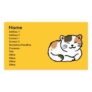 cute fluffy calico orange and black cat business card
