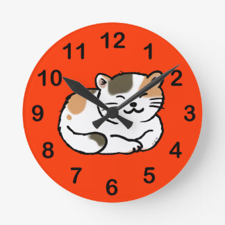 cute fluffy calico orange and black cat round clocks