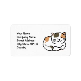 cute fluffy calico orange and black cat label