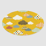 Cute Fluffy Cloud Patterns Polka Dots Stripes Oval Stickers