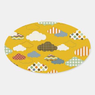 Cute Fluffy Cloud Patterns Polka Dots Stripes Oval Sticker