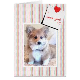 Cute Fluffy Corgi Valentine Greeting Card