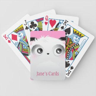 Cute Fluffy Furry White Cartoon Panda Bicycle Playing Cards