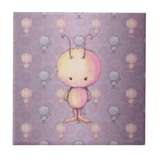 Cute Fluffy Fuzzy Monsters Ceramic Tile