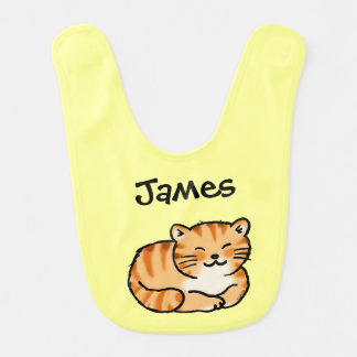 cute fluffy ginger and white cat - add name bibs