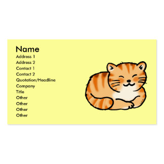cute fluffy ginger and white cat business card
