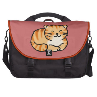 cute fluffy ginger and white cat laptop computer bag