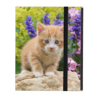 Cute Fluffy Ginger Baby Cat Kitten Flowers Photo - iPad Folio Case