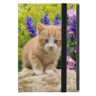 Cute Fluffy Ginger Cat Kitten in Flowers Pet Photo Cover For iPad Mini