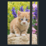 """Cute Fluffy Ginger Cat Kitten in Flowers Pet Photo iPad Air Cover<br><div class=""""desc"""">A lovely kitten on a rock in a flowery garden. A cute young redtabby baby cat with wonderful blue eyes, photo taken by Katho Menden. This hard cover Powis iCase iPad-air-case is a gift idea for cat and pet lovers. http://www.zazzle.com/kathom_photo - You can add your own text by pressing the...</div>"""