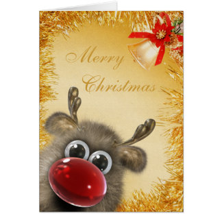 Cute Fluffy Gold Tinsel Christmas Card